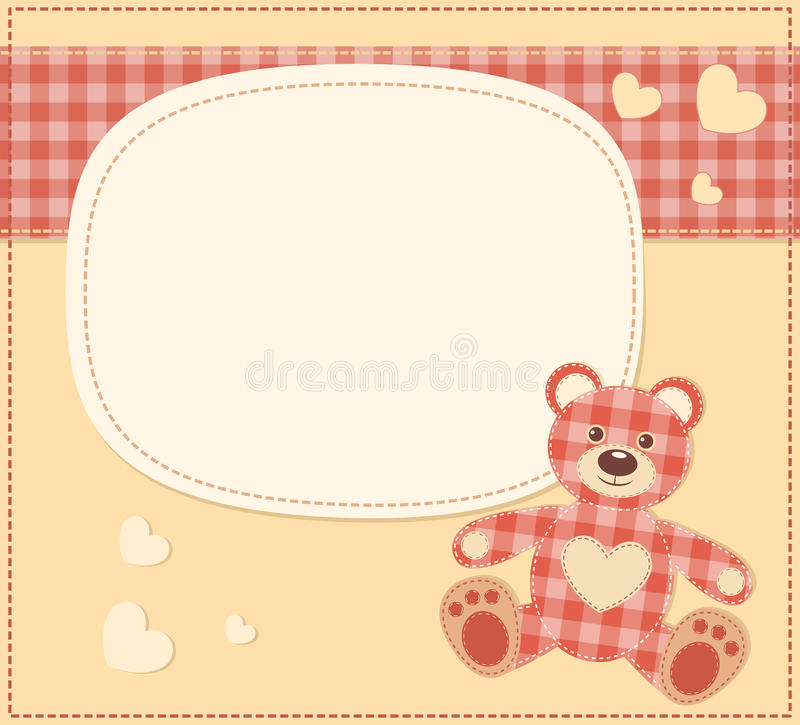 Download Card With The Teddy Bear For Baby Shower Stock Vector - Image: 26773199