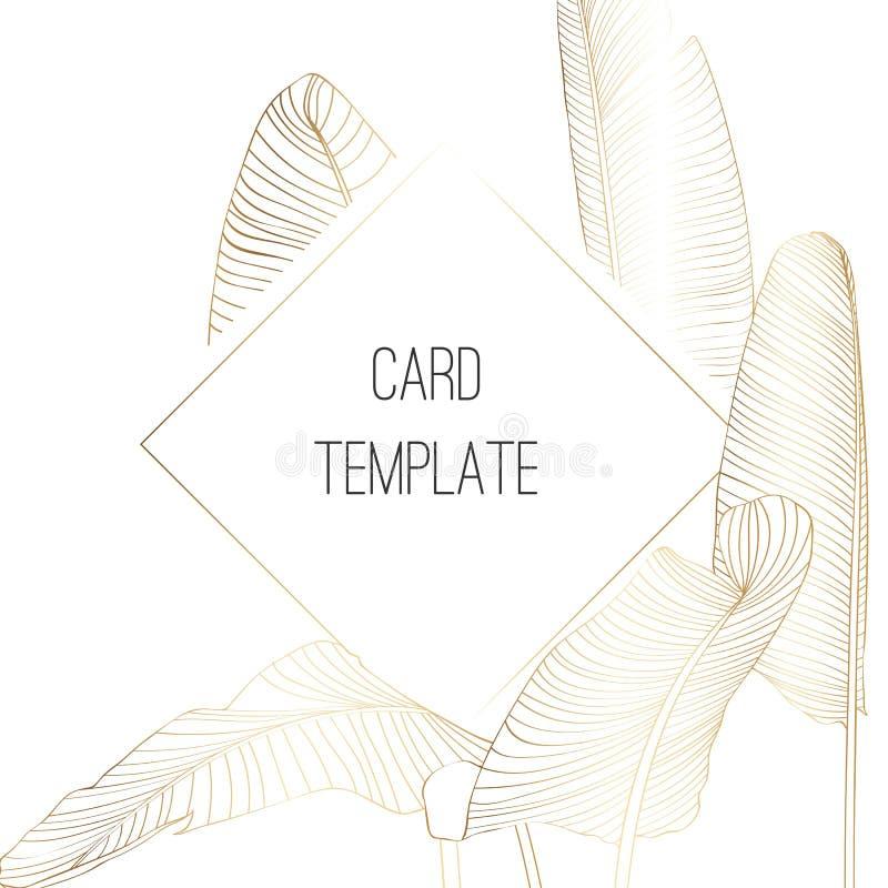 Botanical wedding invitation card template design, Golden Tropical Palm Bananas Tree Leaves with golden frame. royalty free illustration