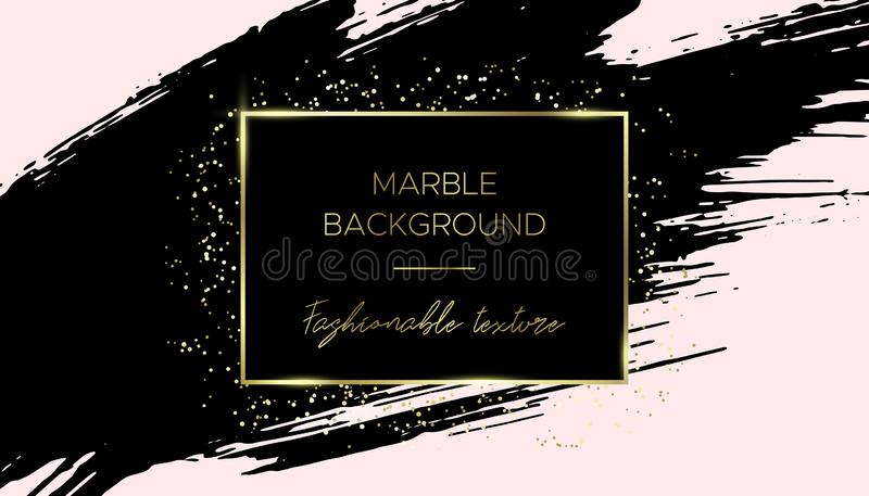 Card template. Black brush stroke and gold dust. vector illustration