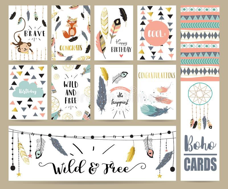 Card template collection for banners,Flyers,Placards with feather,fox,monkey and arrow in boho style vector illustration