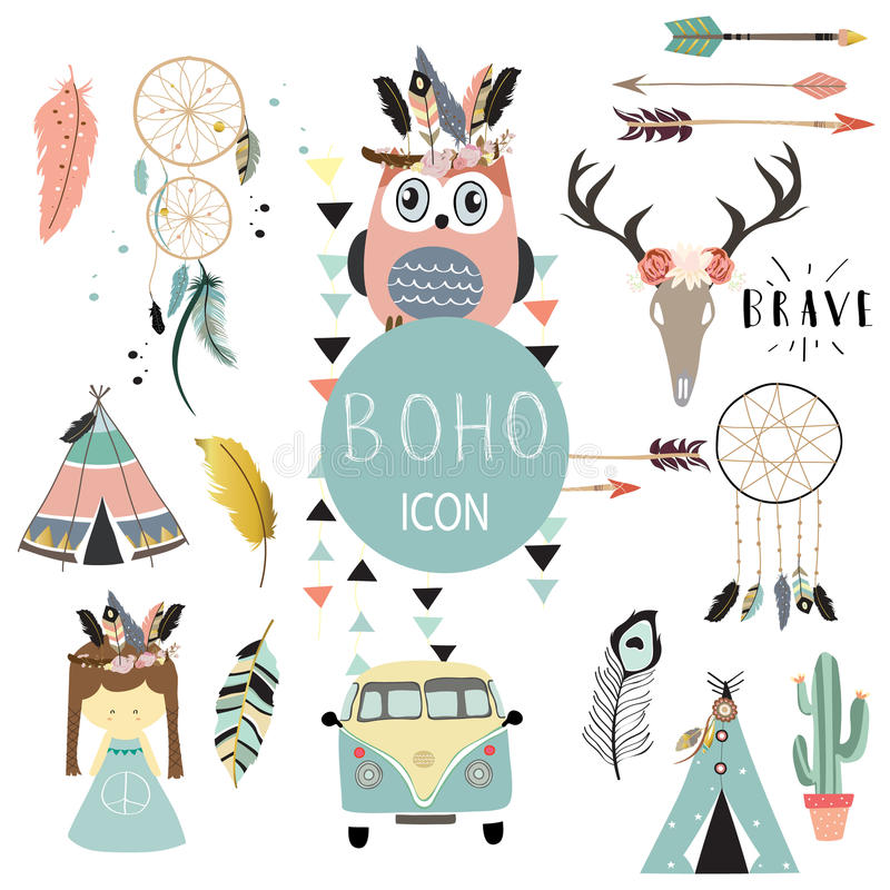 Card template collection for icon,Flyers,Placards with wreath,feather,owl,tent,wild,girl and arrow in boho style stock illustration