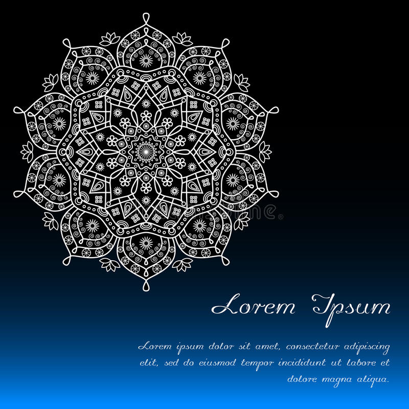 Card template with floral mandala decor in blue, black & white. stock illustration