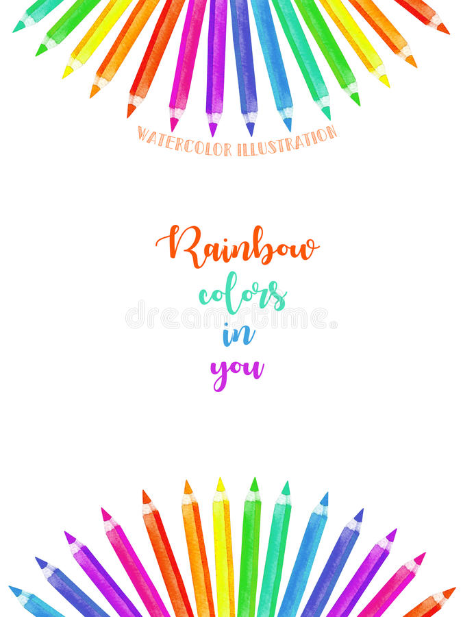 Card template, frame border with watercolor colour pencils. Hand painted isolated on a white background vector illustration