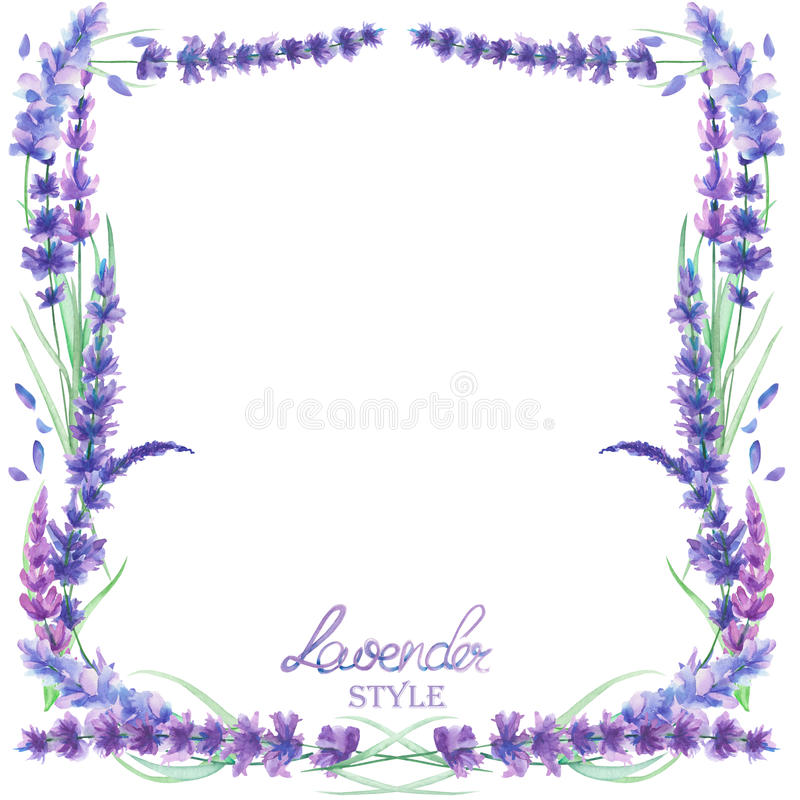 A card template, frame border with the watercolor lavender flowers, wedding invitation vector illustration