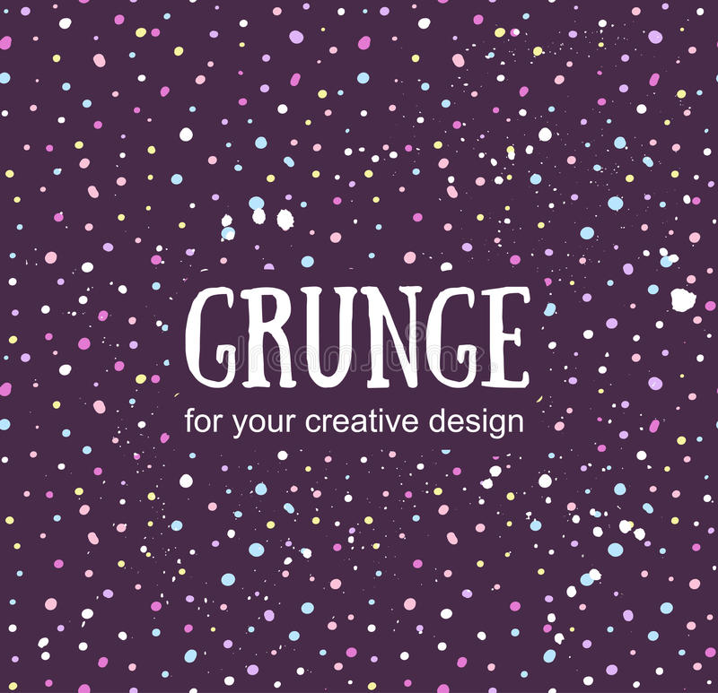 Card template with hand painted grunge background. Stylish simple design and trendy colors. Space and stars stock illustration