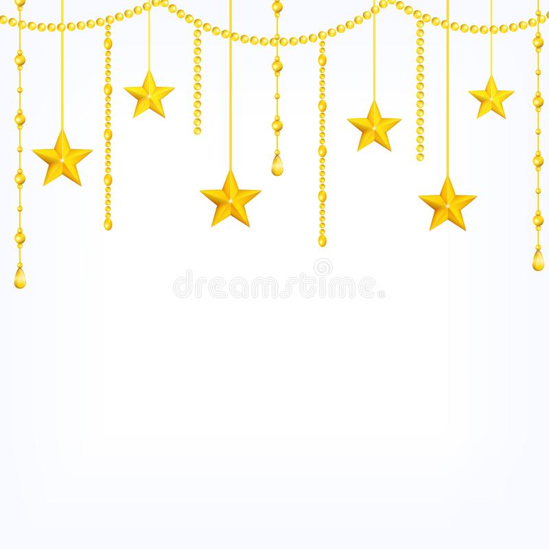 Card template with hanging yellow gold stars, shiny beads isolated on white background stock illustration