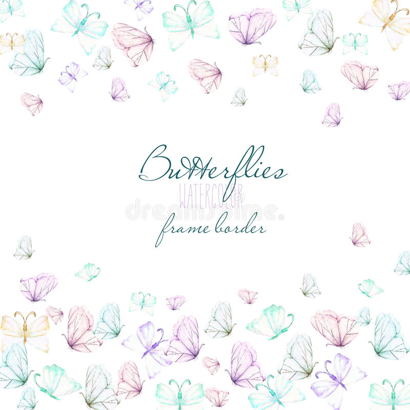 Card template, postcard with watercolor tender butterflies, hand drawn on a white background royalty free illustration