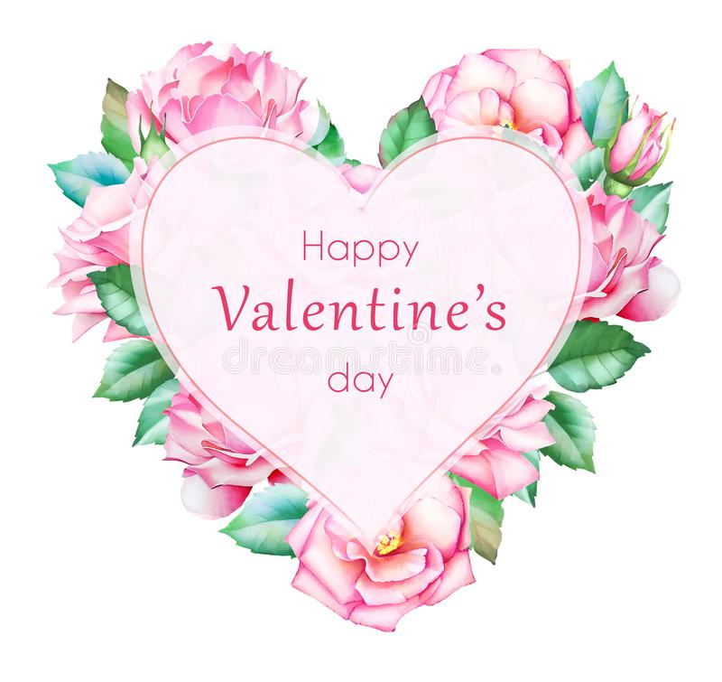 Card template for Valentine`s day. vector illustration