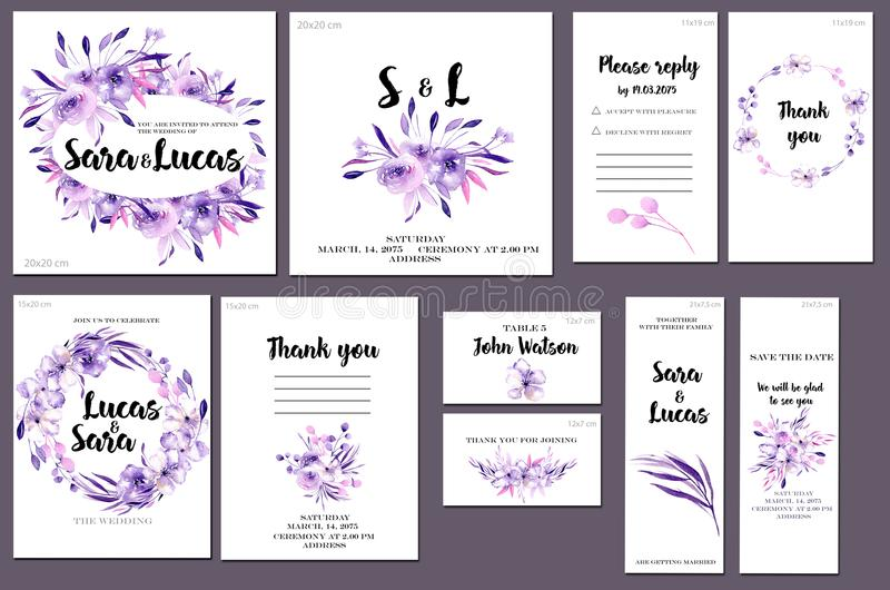 Card templates set with purple watercolor flowers and plants background; artistic design for business, wedding, anniversary vector illustration