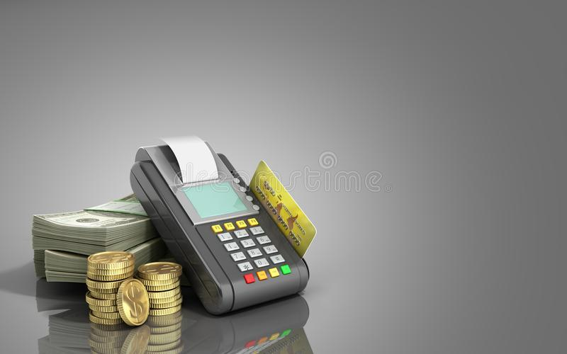 Card terminal on stacks of dollar bills with a bank card inside stock illustration