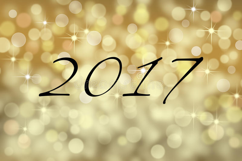 2017 text card and gold bokeh backgound stock photo