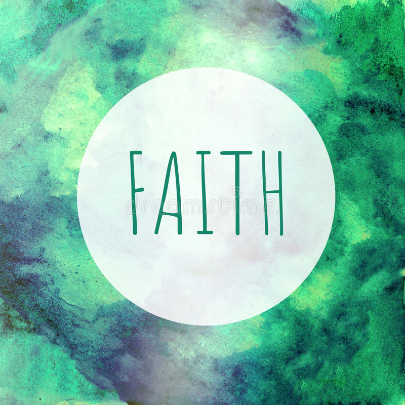 Card Faith in the round frame - green blue watercolor backgroun royalty free stock images