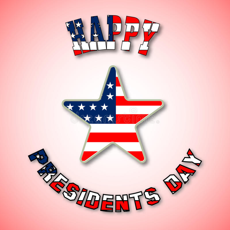 Card with text happy Presidents Day colored in National Flag. The star in centre on bright background. Vector vector illustration