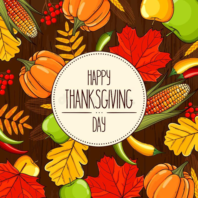 Card Thanksgiving Day royalty free illustration
