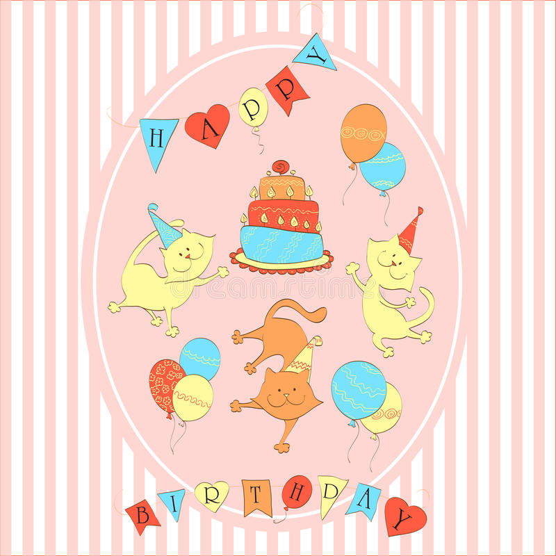 Card To Birthday. Three Dancing Cats With Balloons Royalty Free Stock Image