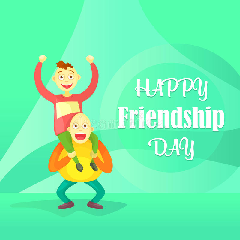 Card to the day of friendship. Flat composition, young guys one on one`s shoulders, a crazy trick isolated on abstract background. Cartoon style vector illustration