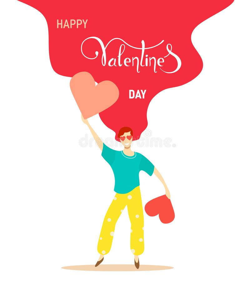 Card to Valentine`s Day with a unique and retro girl holding hearts. Handwritten text. Creative and festive illustration. vector illustration