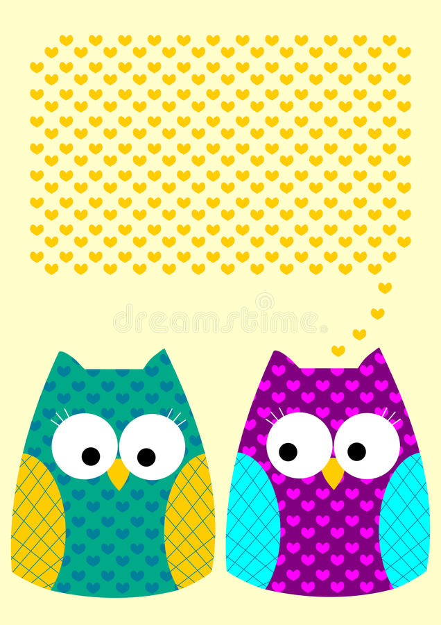 Owls love message greeting card with hearts vector illustration