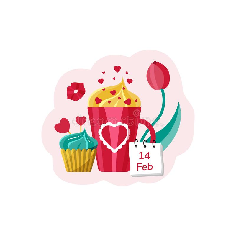 Card for Valentine`s Day. Mug with drink, cupcake, hearts and tulip. Vector illustration royalty free illustration