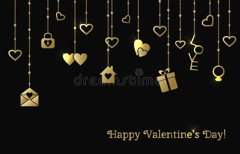 Card for Valentines Day with hanging gold hearts, gift, letter stock illustration