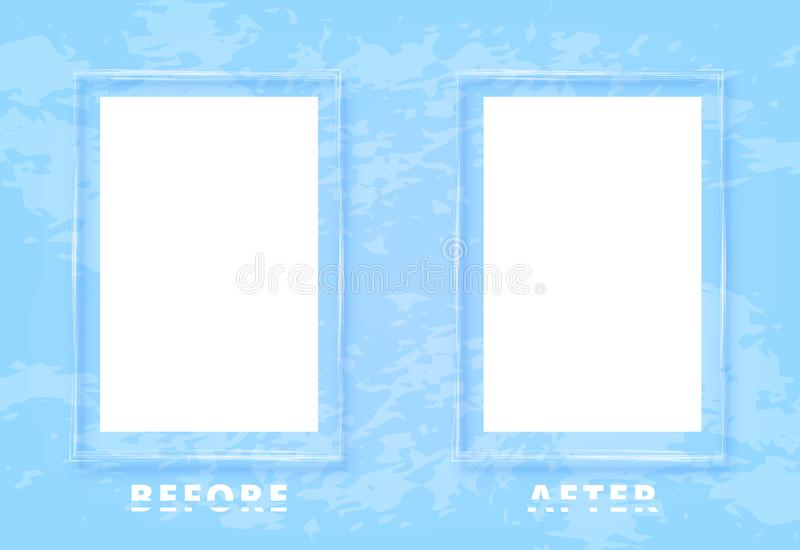 Before and After card. Vector illustration. Before and After screen with sliced text and frames. Comparison blue banner with empty space and textured background vector illustration