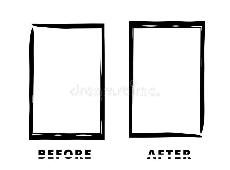 Before and After card. Vector illustration. Before and After sliced text with black frames isolated on white background. Comparison banner with empty space vector illustration