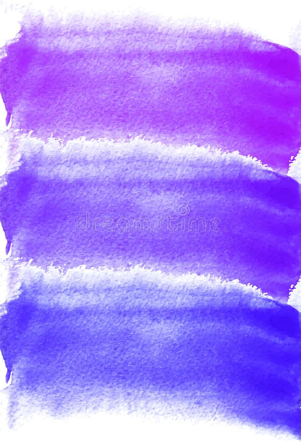 Card with watercolor blots. Purple, lilac, blue colors. Painting for your design. Abstract bright textured backdrop. stock illustration