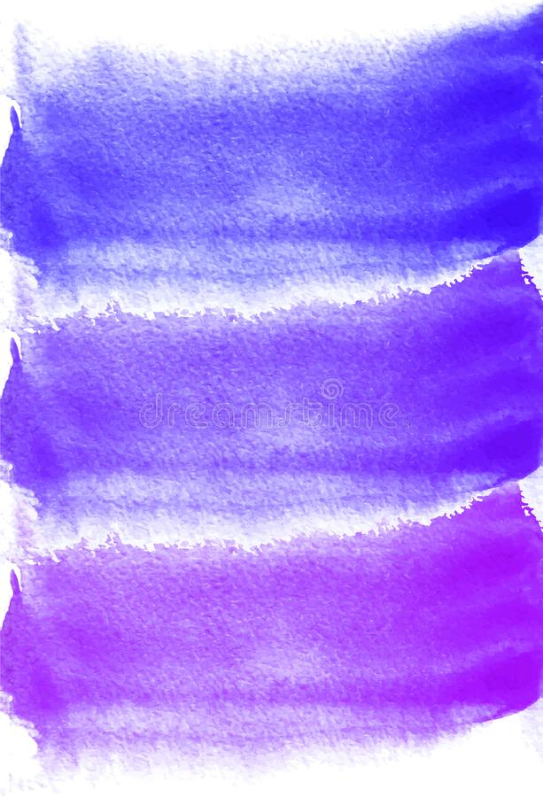 Card with watercolor blots. Purple, lilac, blue colors. Painting for your design. Abstract bright textured backdrop. Vector illust vector illustration