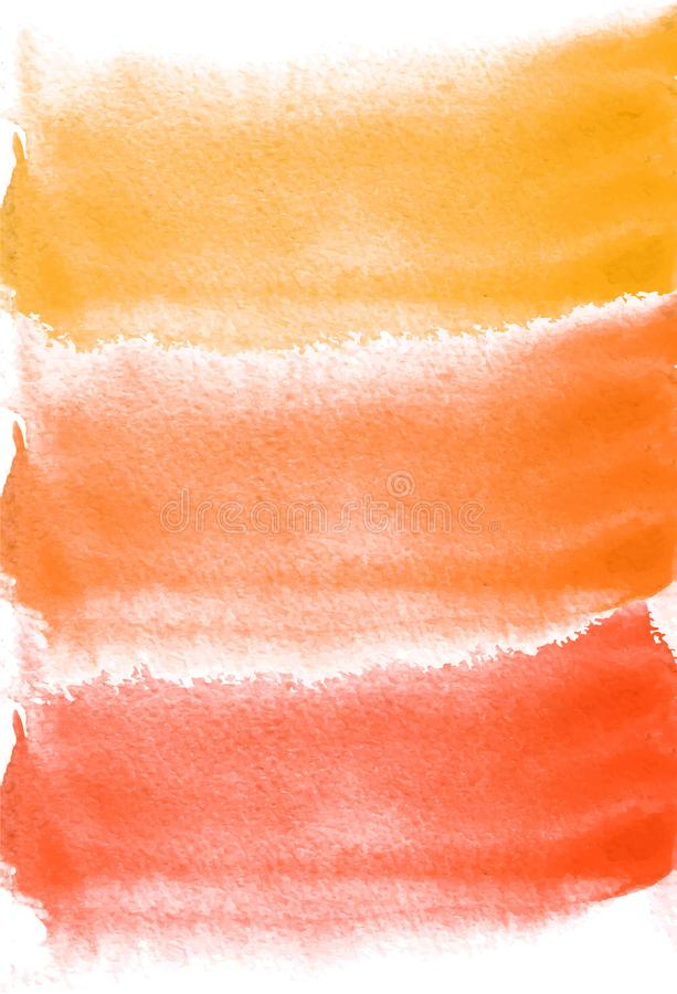 Card with watercolor blots. Yellow, orange and red colors. Painting for your design. Abstract bright textured backdrop. stock illustration