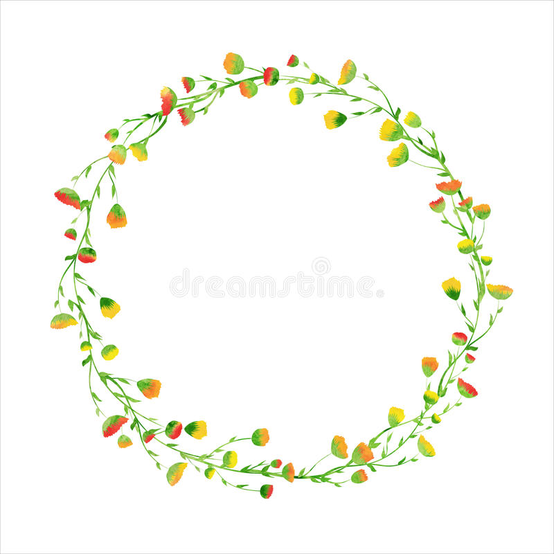 Card with watercolor flower wreath vector illustration