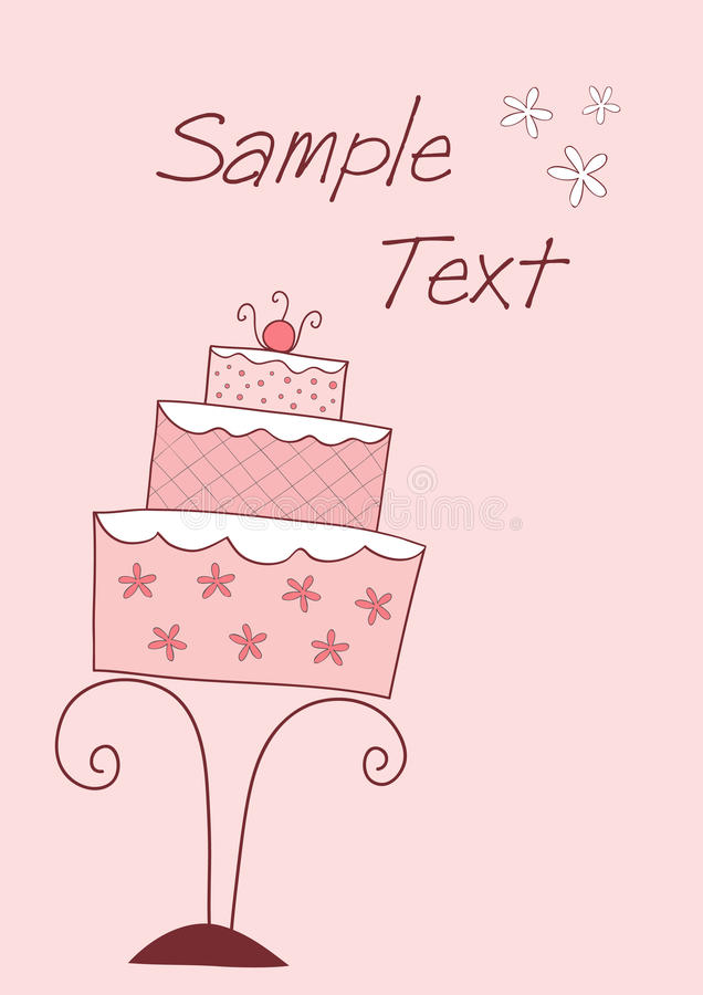 Card with wedding or birthday cake vector illustration
