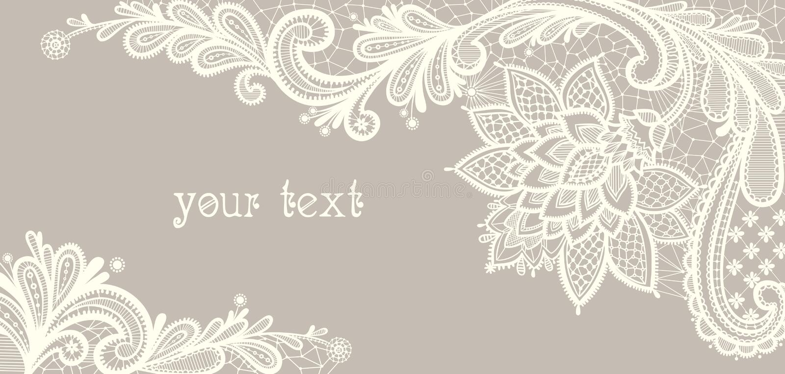 Card with a white lace. Floral Background. stock illustration