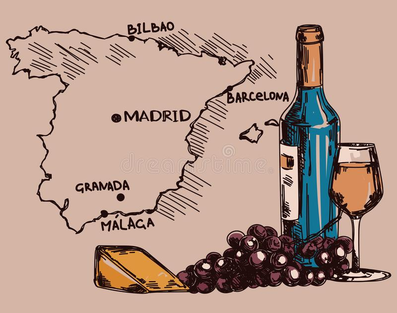 Card with wine bottle, glass and cheese and Spain map royalty free illustration