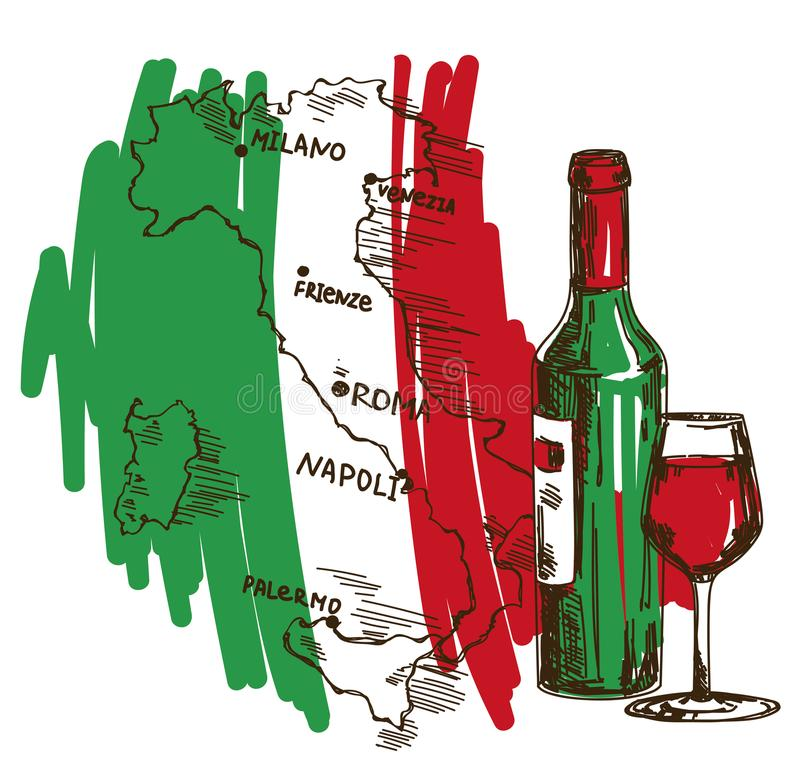 Card with wine bottle, glass and Italy map in national flag colors. An be used for tourism or for wine tasting, vector illustration in sketch style stock illustration