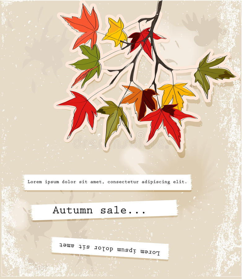 Free Card With Autumn Leaves Royalty Free Stock Photos - 27485738