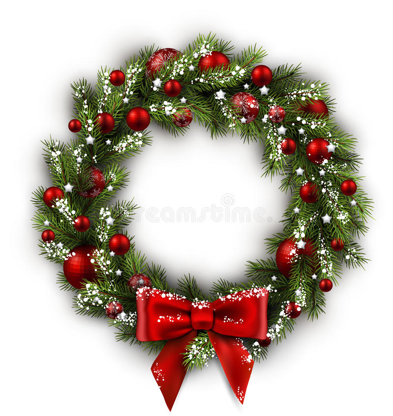 Free Card With Christmas Wreath Royalty Free Stock Photography - 61977857