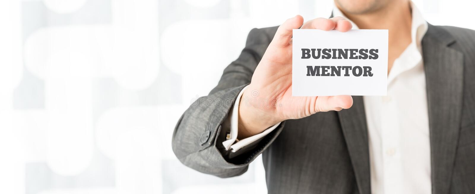 Card with the words Business Mentor stock photo