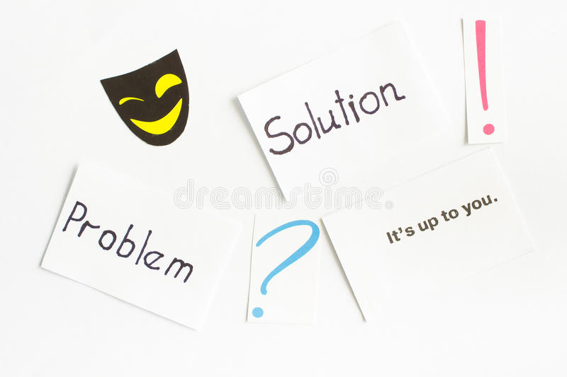 Card with words 'problem', 'solution', question mark, exclamation point royalty free stock image