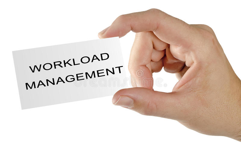 Card with workload management. Business card with workload management stock image