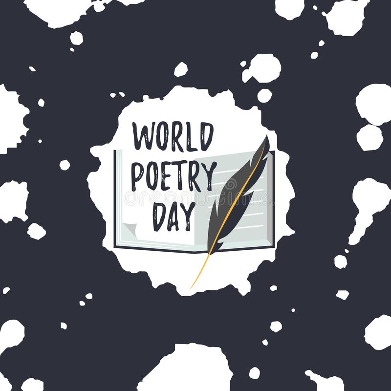 Card for World Poetry Day. Quill pen and book. Card for World Poetry Day. Icons of quill pen and book with text stock illustration