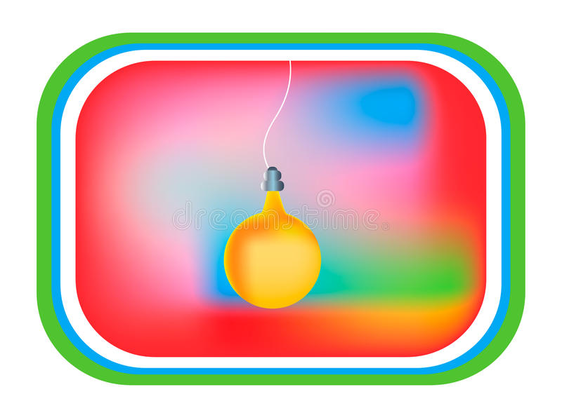 Card yellow light bulb, tv display. Colorful background stock illustration
