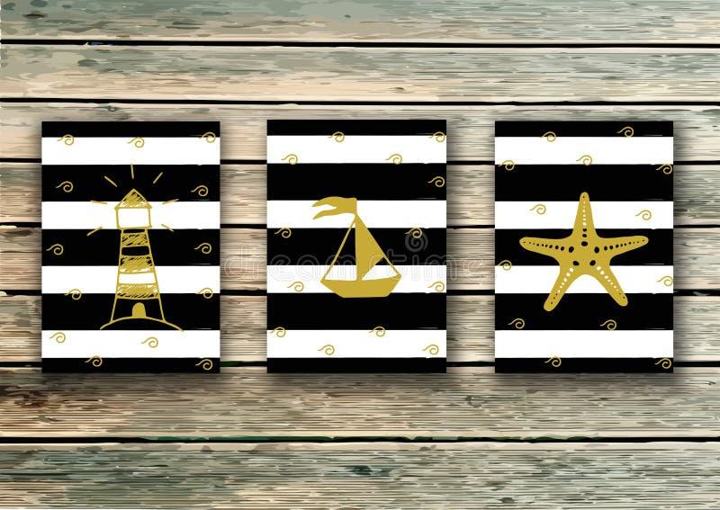 Carda la plantilla Vector fijado en estilo marino Diseño de la celebración Tarjeta de felicitación Luz dentro de usted - cita ilustración del vector