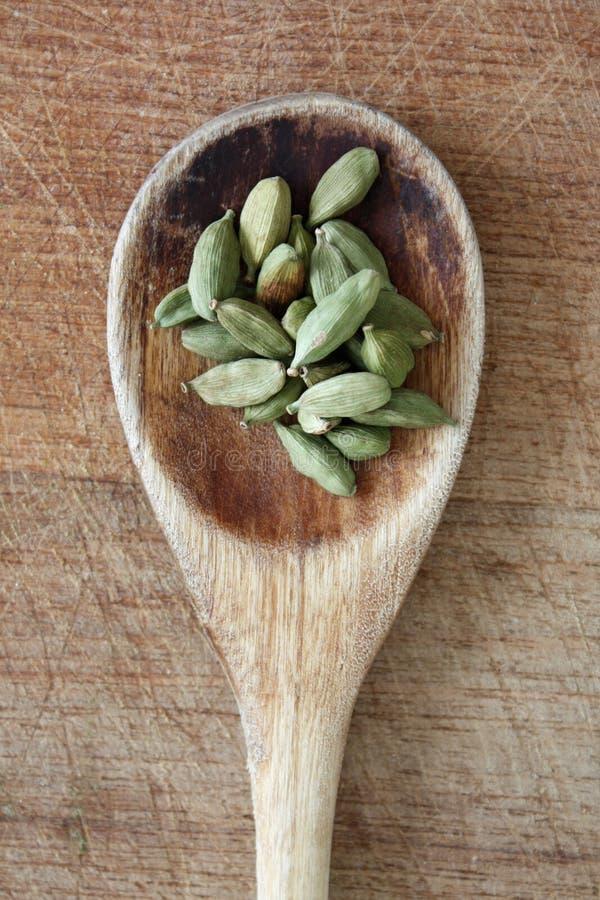 Cardamom. On a wooden spoon stock photos
