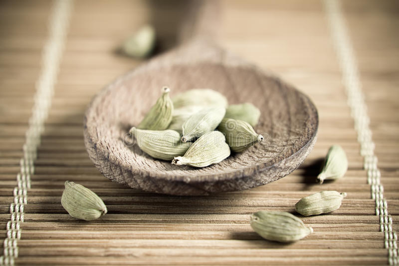 Cardamom. In a wooden spoon stock image
