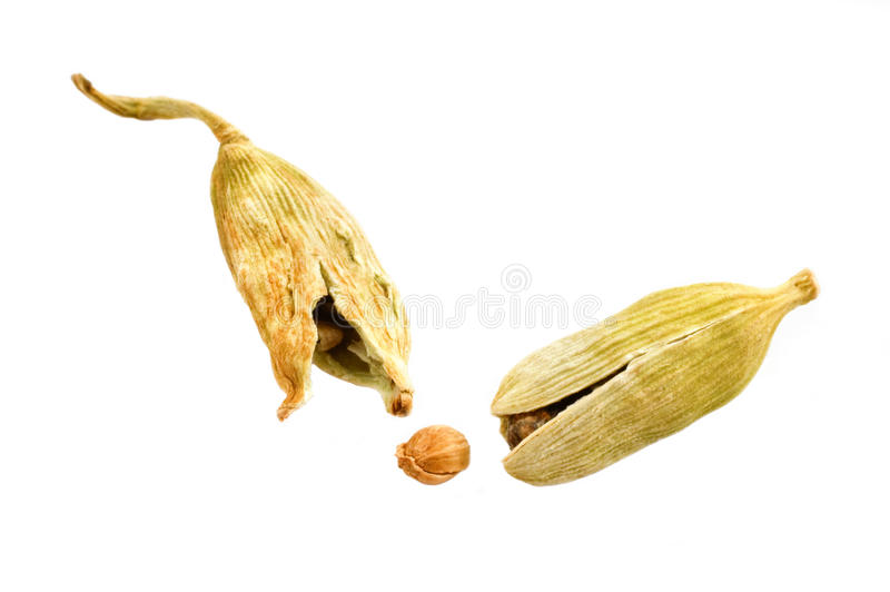 Cardamom. Seeds isolated on white royalty free stock photos