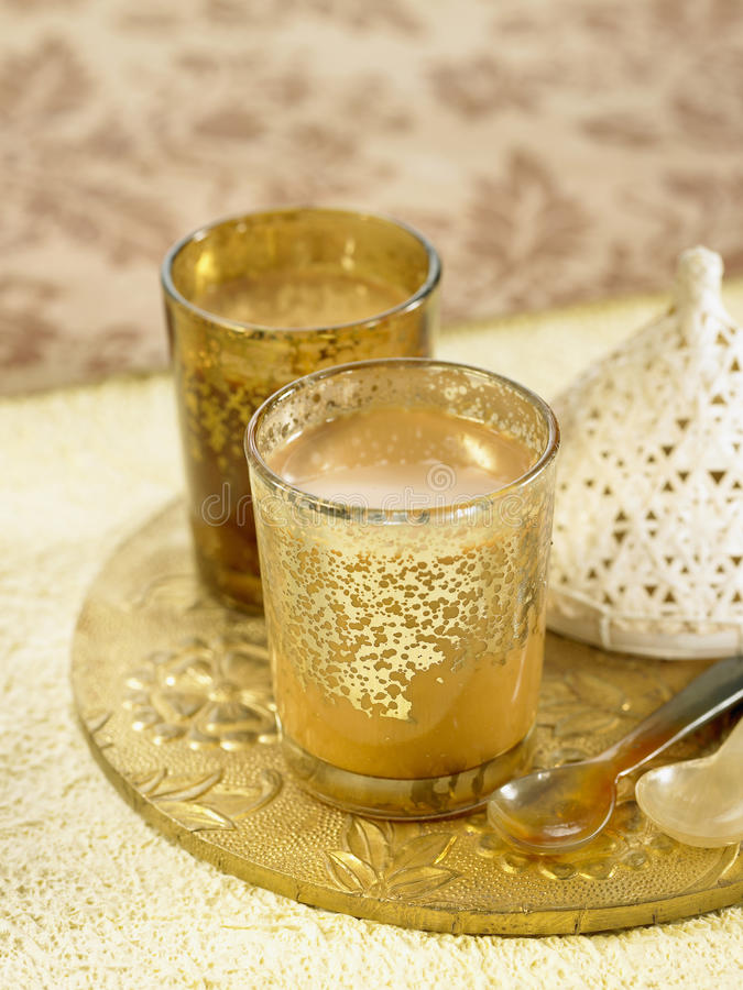Cardamom,cinnamon and clove Masala chai stock photo