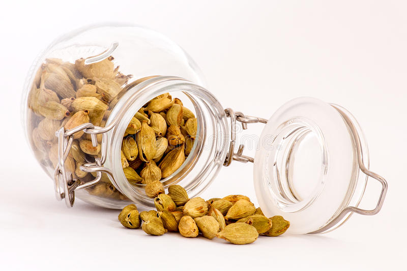 Cardamom pods emerging from container stock images