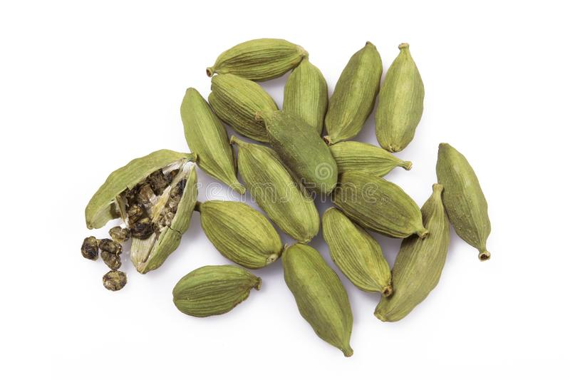 Cardamom. Top view of Cardamom isolated on white background stock image