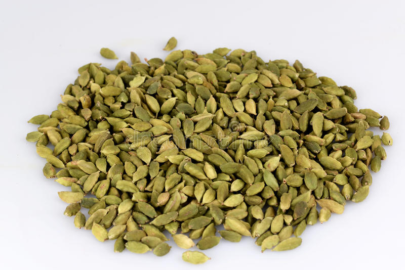 Cardamom. On with white background stock photography