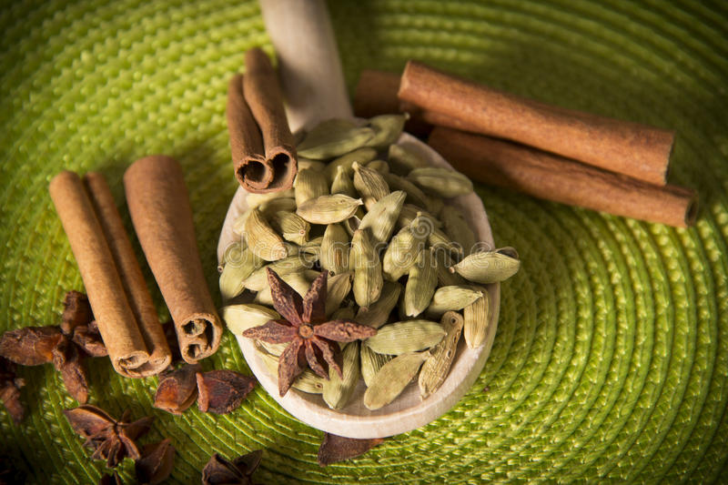 Cardamom in wooden spoon stock images